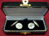 Art Deco Mother of Pearl and Chrome Cufflinks (SOLD)